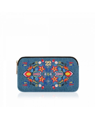 Numeroventidue Front Dragonfly Clutch Bag Flower Denim