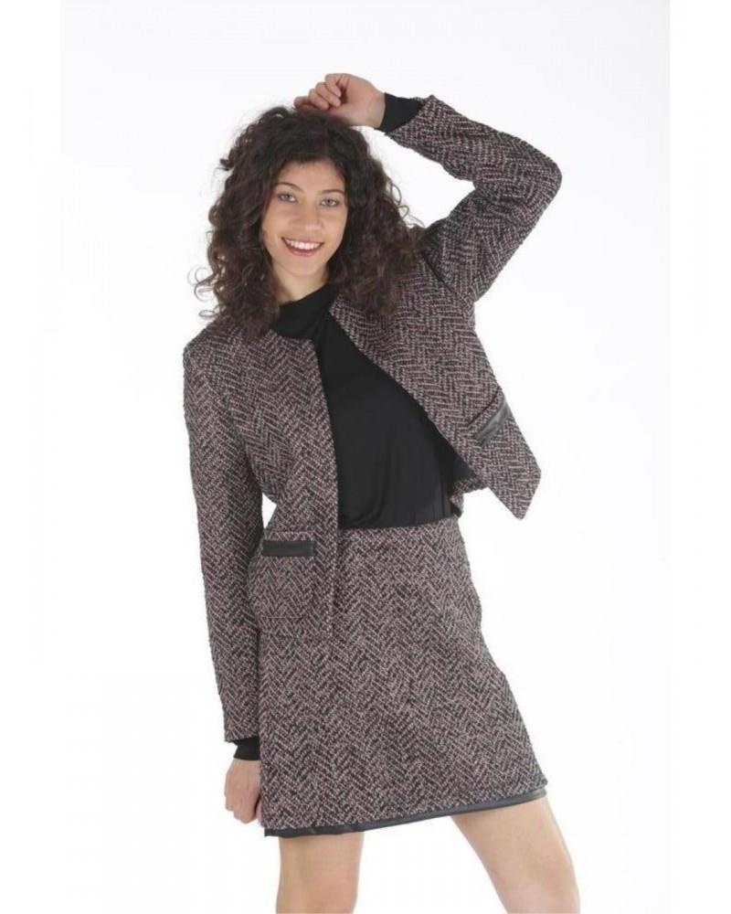 Gonna Mimi Muà donna tweed roso-nero