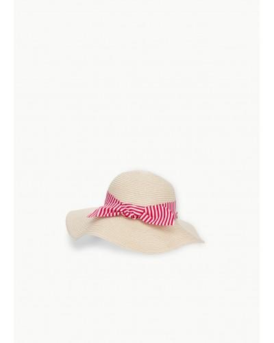 Cappello Liu Jo finta paglia con fiocco a strisce bianche rosso