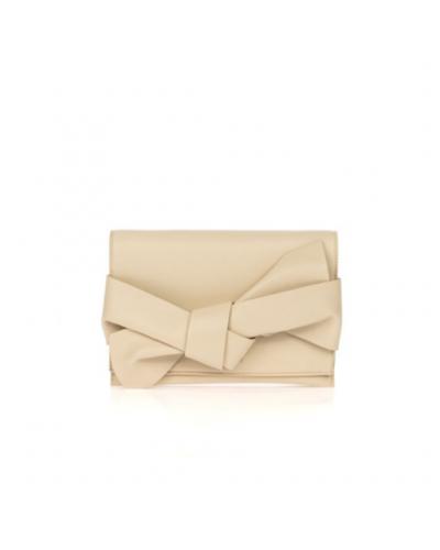 Pochette L'atelier du sac con tracolla e fiocco sul davanti. Modello Mya beige
