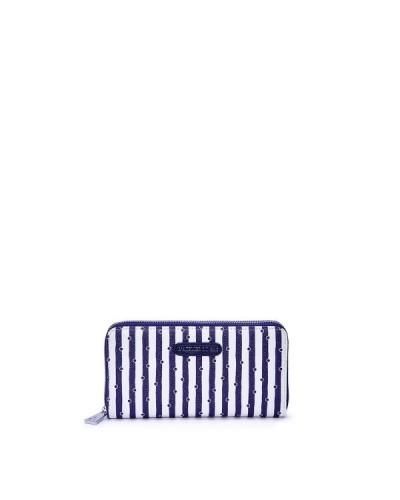 Portafoglio L'Atelier Du Sac modello Brigitte con zip a righe bianche e blu