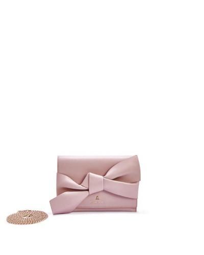 Pochette L'atelier du sac con tracolla e fiocco sul davanti. Modello Mya rosa