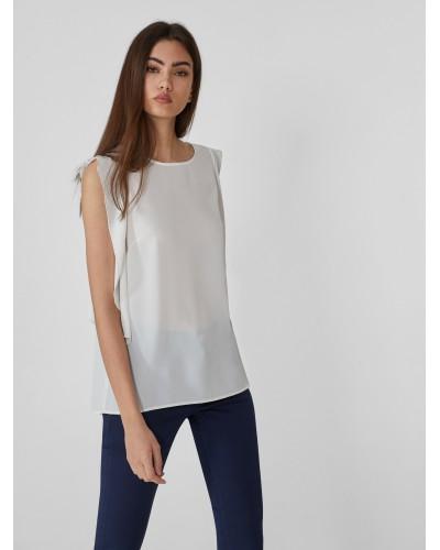 Blusa Trussardi Jeans doppia gerogette bianca