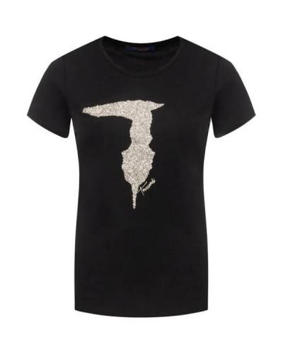 T-shirt Trussardi Jeans donna in cotone stretch logo in rilievo luminoso