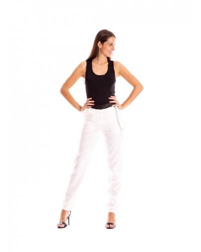 Pantalone Mimi Muà crepe con cinturino in cotone