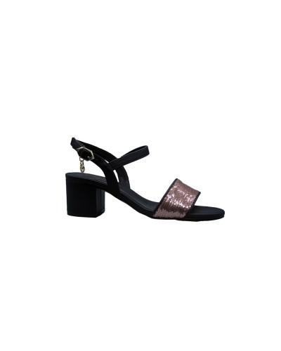 Sandalo Gattinoni clio donna nero pillettes rosate con suola in pelle