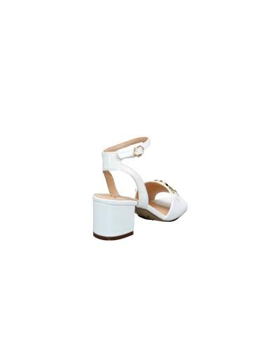 Sandalo Gattinoni Roma clio donna in vernice bianco con plantare in pelle