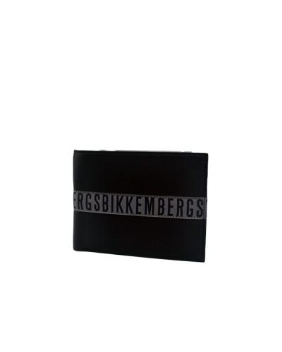 Portafoglio Bikkembergs uomo con portamonete logo in tessuto in pelle