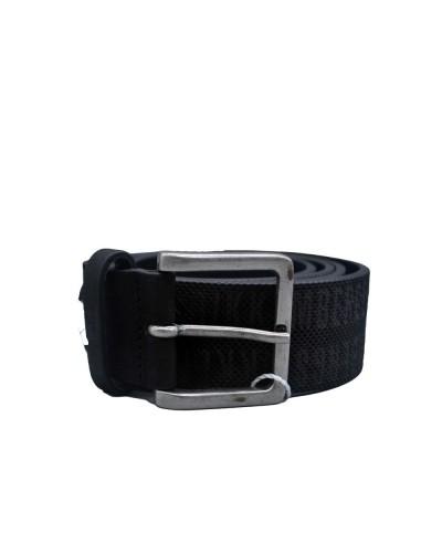 Cintura Bikkembergs logata fibbia acciaio in pelle
