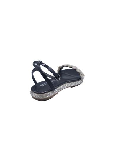 Sandalo My Twin basso nero con strass