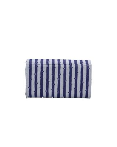 Portafoglio L'Atelier Du Sac modello Amelie con patta a a righe bianco e blu