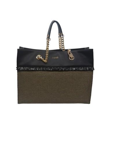 Liu Jo borsa tote con manici in catena e bordi in ecopelle nera e beige