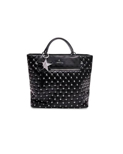Borsa shopping L'atelier du sac trapuntata con stelle e borchie. Con pashmina in omaggio. Modello Scarlett