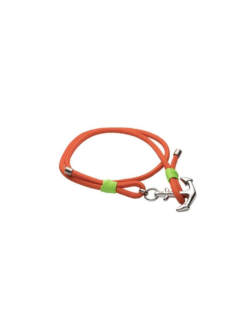 YES I AM bracciale arancio e verde con ancora
