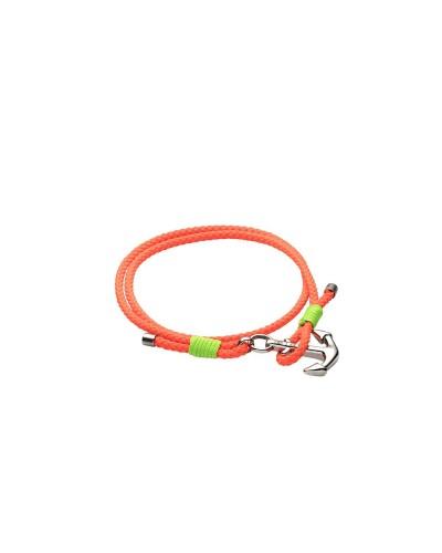 YES I AM bracciale arancio e verde fluo con ancora