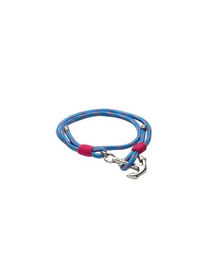 YES I AM bracciale corda blu e rosa