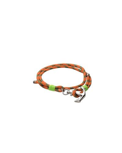 YES I AM bracciale verde e arancio con ancora