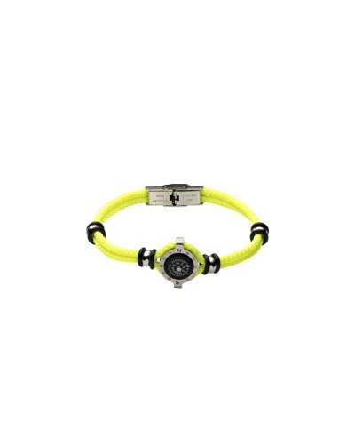 YES I AM bracciale giallo fluo con bussola