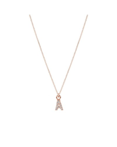 Collana Yes I am small arg rose' pietre rodio lettera a
