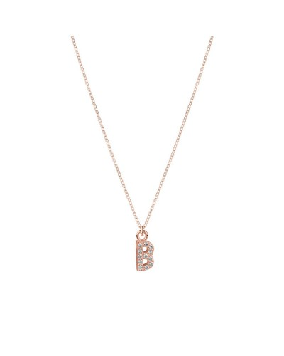 Collana Yes I am small arg rose' pietre rodio lettera b