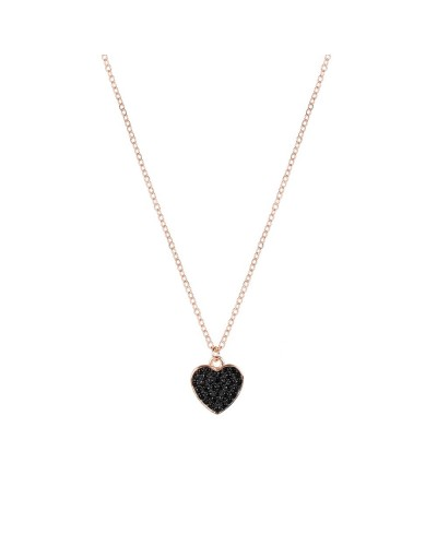 925 SILVER NECKLACE HEART BLACK 38+4CM ROSE/BLACK