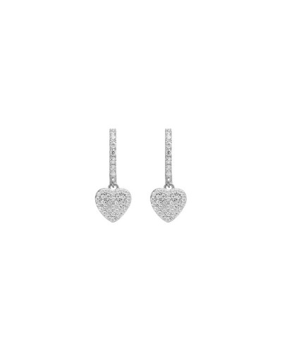 925 SILVER EARRING HEART WHITE CZ 13MM RD/8MM PEND