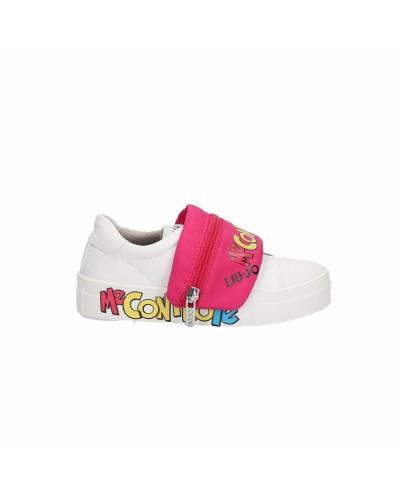 Scarpe Sneakers Liu Jo Me contro Te fondo a cassetta in pelle bianca borsello fuxia