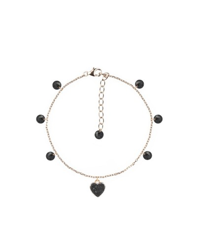 925 silver bracelet 4mm brio charms heart 16+3cm ro-bk