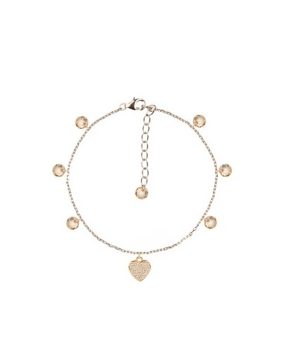 Bracciale Feelings rose gold con cuore e cristalli