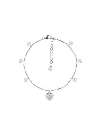 Bracciale Feelings 4mm brio+charms heart 16+3cm wh/rh 925 silver