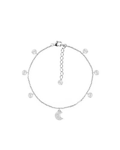 Bracciale feelings silver con luna e cristalli bianchi