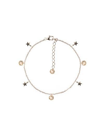 Braccialr Feelings 4mm brio+charms stone+plain star cha/ros 925 silver
