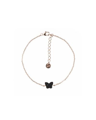 Bracciale Feelings  butterfly black 16+3cm rose/black 925 silver