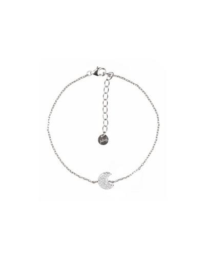 Bracciale Feelings moon white cz 16+3cm rhod 925 silver