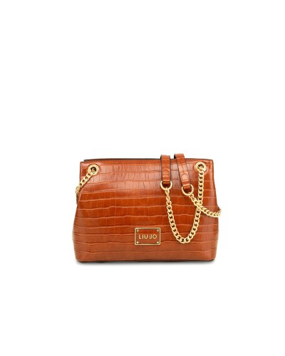 Shopping  Liu Jo Donna  marrone  con stampa effetto coccodrillo e ampio scomparto chiuso con zip