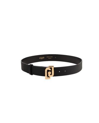Cintura Liu Jo donna 4cm effetto nappa e chiusura ad incastro con fibbia logata color nero