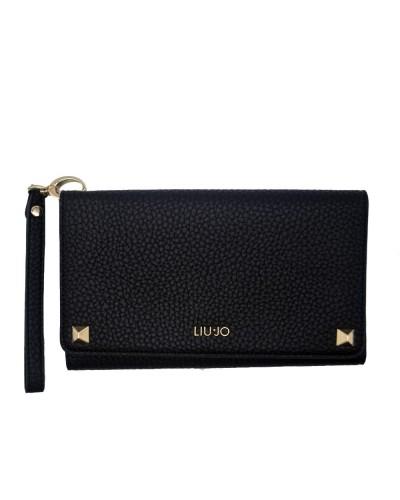 Pochette  Liu Jo Donna nero con polsiera realizzata in ecopelle con apertura a portafoglio