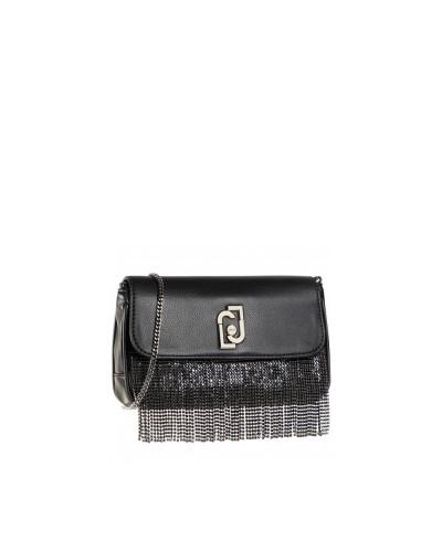 Borsa Liu Jo donna pochette ecopelle con frange strass neri
