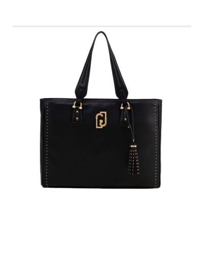 Shopping Liu Jo Donna nero realizzata in similpelle effetto nappa con micro borchie applicate, un ampio scomparto interno dotat