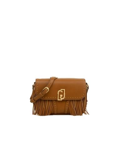 Borsa  Liu jo Donna marrone a tracolla realizzata con borchie e frange applicate chiusura con bottone magnetico