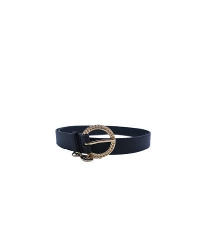 Cintura Liu Jo donna effetto nappa mossa impreziosita da un charm logato con fibbia metallica a catena color nero