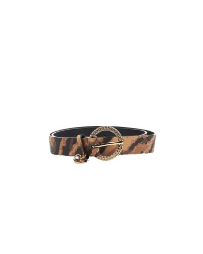 Cintura Liu Jo donna effetto nappa mossa impreziosita da un charm logato con fibbia metallica a catena color zebrato cammello