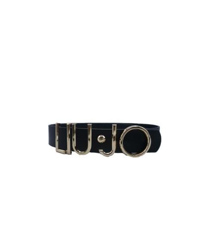 Cintura Liu Jo donna 3,5cm con logo metallico e chiusura ad incastro nera