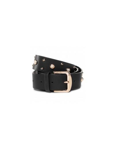 Cintura Liu Jo donna 3,5cm con applicazione di borchie e perle tg. unica nera
