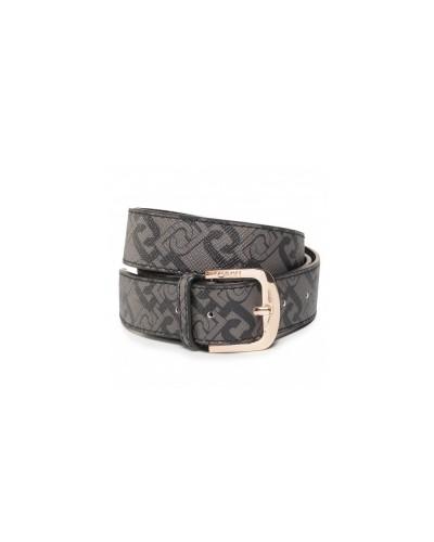 Cintura Liu Jo donna 3,5cm effetto saffiano con logo stampato e chiusa con fibbia metallica regolabile taglia unica color marro