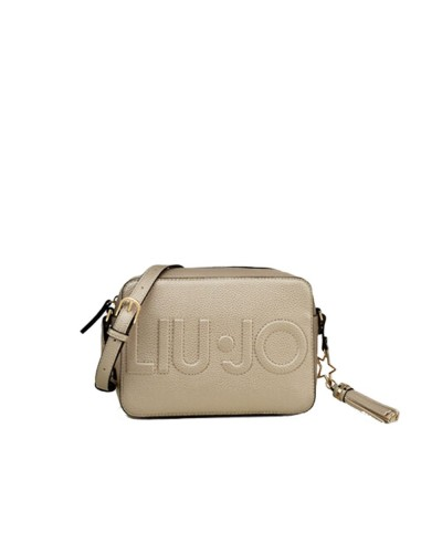 Borsa Tracolla Liu Jo maxi logo in ecopelle effetto martellato light gold