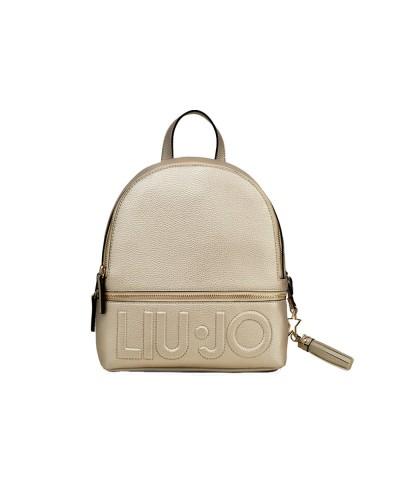 Zaino Liu Jo doppia cerniera maxi logo effetto martellato light gold