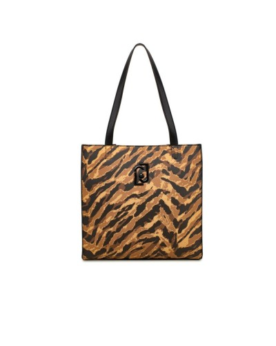 Shopping Liu jo Donna maculata marrone e nero chiusura con zip e tracolla removibile