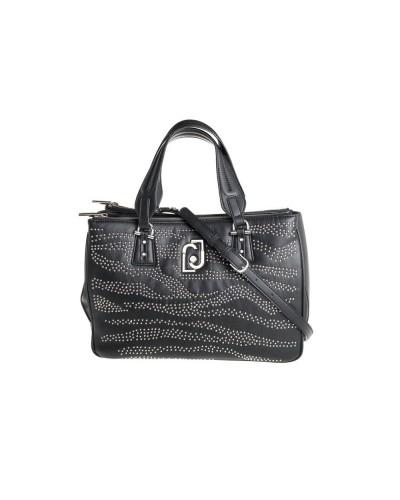Bauletto  Liu Jo donna nero  realizzato in similpelle chiuso con zip metalliche e borchie applicate