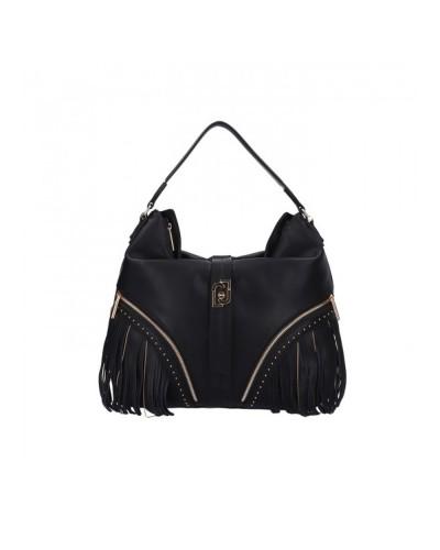 Borsa a spalla  Liu Jo Donna nero  con micro borchie applicate frange  e sottili catene scomparto centrale chiuso con zip.